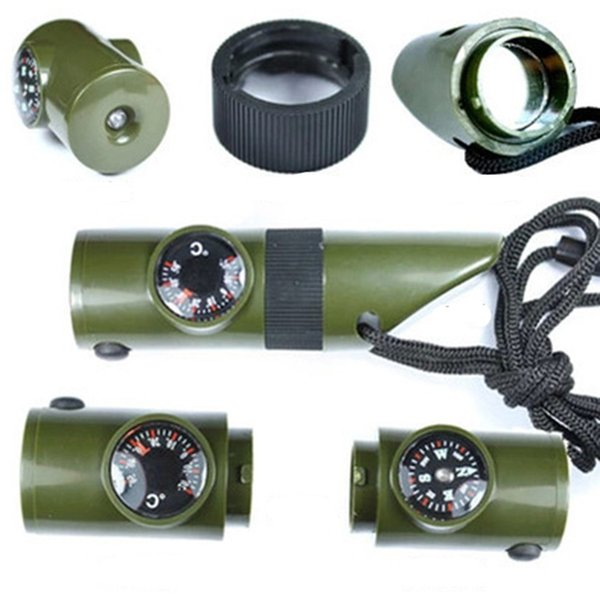 6 in 1 multi-function whistle thermometer compass LED lamp storage box magnifying glass reflector outdoor tactical equipment set edc