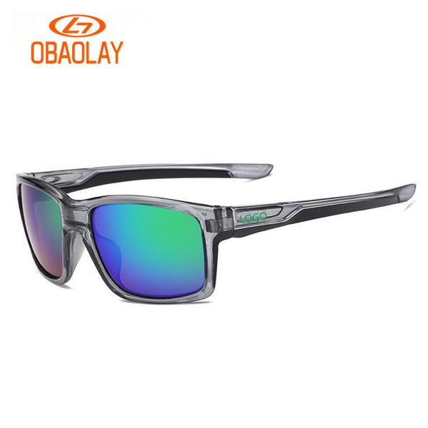 Occhiale da sole sportivo OBAOLAY marca con logo O uomo etero da guida occhiali da sole rettangolari nero opaco
