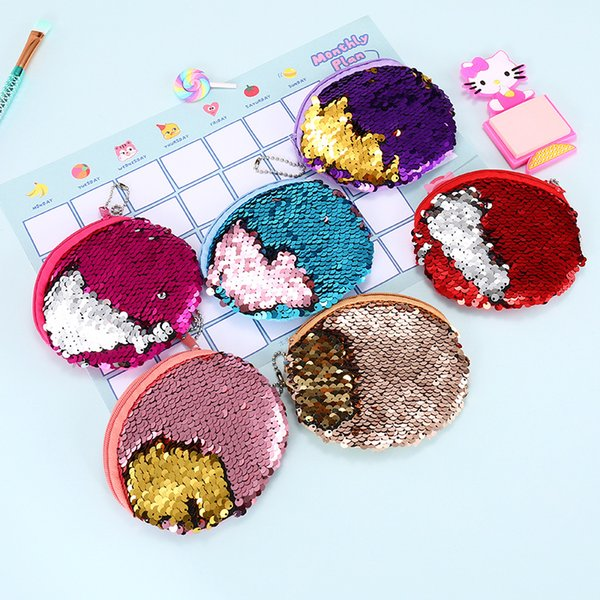Creative Double Color Cartoon Sequins Coin Bag Bardian Student Coin Bags PVC Key Purse Portable Zipper Round Hot Sale 2 9sm Y