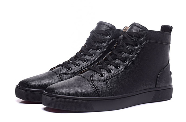 d6da852a377b Fashion Style Round Toe High Top Solid Red Bottom Sneakskin Leather Mens  Shoes Casual Shoe Lace