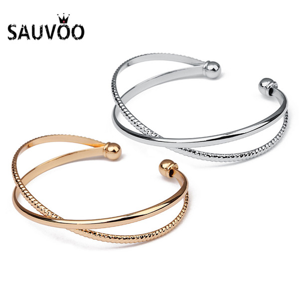 Sauvoo 2018 Trendy Open Cuff Bracelet Bangles For Women Gold Silver Color Adjustable Ball Charm Bangles Pulseiras