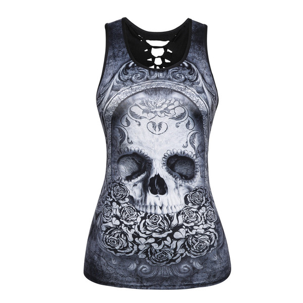 women tops new fashion 2018 summer sleeveless vintage o neck vest casual skull printed blouse and tank tops camis clothes #716