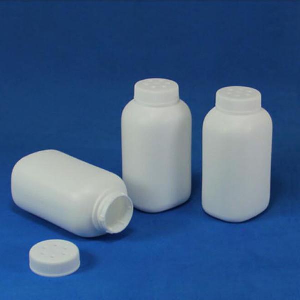 Bouteille en plastique blanche de HDPE de la capacité 80ml avec le chapeau de trou pour la médecine de poudre, récipient QW7049 de poudre de talc