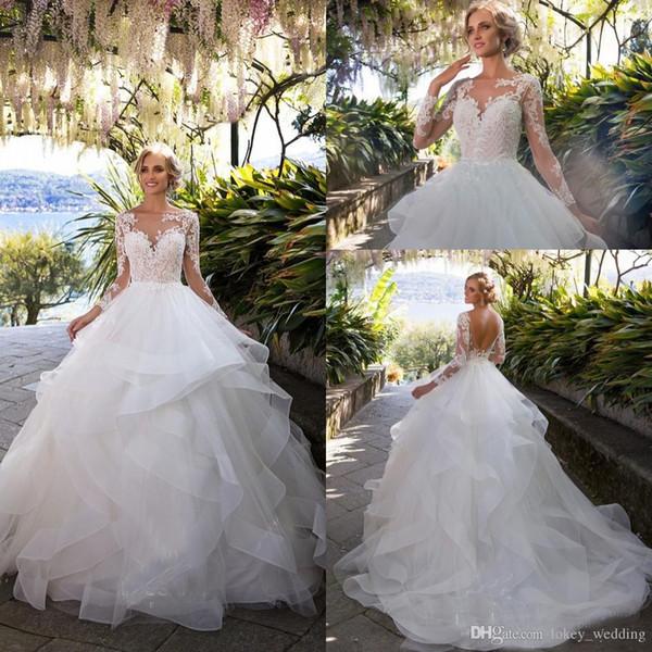 Layer Ruffle Gonne Backless Abiti da sposa 2018 Illusion maniche lunghe Appliqued Ball Gown Abiti da sposa da sposa Arabo Vintage