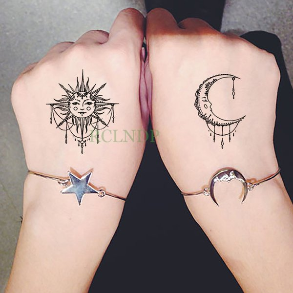 b767570ac Waterproof Temporary Tattoo Sticker sun Moon Fake Tatto Flash Tatoo  Tatouage Wrist Foot Hand Arm For