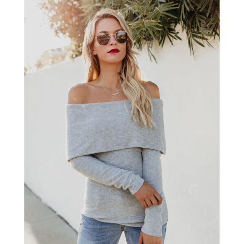 Autumn New Women Ladies Off Shoulder T-Shirt Bodycon Tops Long Sleeve Tees Jumper Casual Pullover Fashion Streetwear