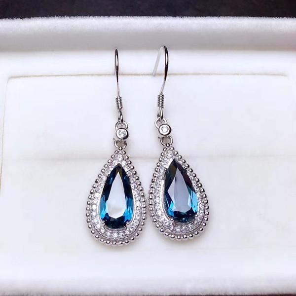Natural blue topaz gem drop earrings 925 silver natural gemstone earrings  long big Water droplets women Earrings jewelry