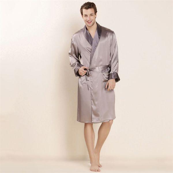 High Quality Real Silk Sleeping Robe Male Spring Summer Long-Sleeved 100% Silk Bathrobes Pure Color Men Sleepwear Home Clothing