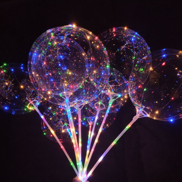 top popular Christmas 20 Inch Luminous Party LED Balloon Transparent Colored Flashing Lighting Balloons with 70cm Pole Wedding Party Decorations 2019