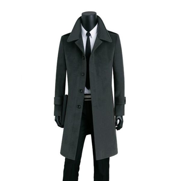Longo casaco de lã dos homens Single-breasted trench coats sobretudo casaco de cashmere dos homens casaco masculino inverno erkek inglaterra cinza preto