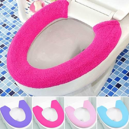 All Shape Toilet Cover Seat Lid Pad Bathroom Protector Closestool Soft Warmer home garden accessories 4 colors Wholesale