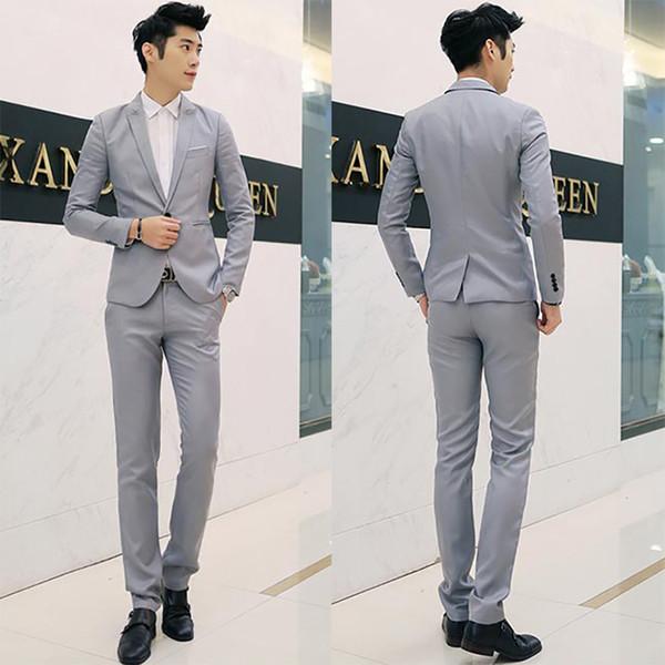 Cor sólida coreano Slim Fit Casual Blazer terno do lazer terno dos homens único botão