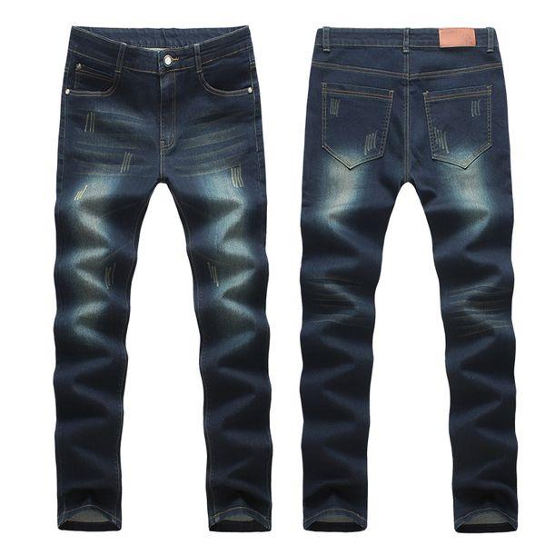 ROM esquerda 2018 Mens Fashion Boutique Pegar Quebrado Adorno Cor Pura Jeans Casual / Homens Restaurando Antigas Formas Calças Jeans
