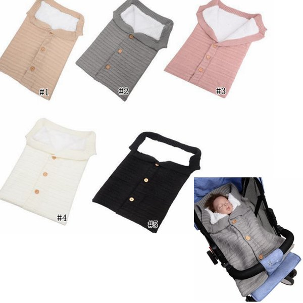 Baby Button Knitted Sleeping Bags Newborn Stroller sleeping bag Toddler autumn Winter Wraps Swaddling 5 colors infant bed sheet MMA1072 36pc