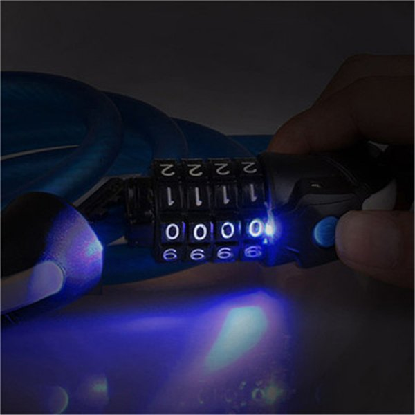 Universal 1.5m Bicycle Frosted Cable Lock Code 4 Digit Password Combination Bike Anti-theft Electric Cable Lock With LED Light