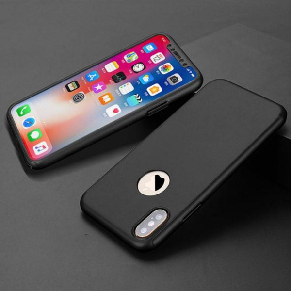 360 Degree Full Body Case For iPhone X 10 Hybrid Tempered Glass Screen PC Middle Plate Hard Back Cover For iPhone 8 7 6S Plus