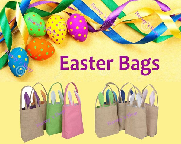 Wholesale 30pcs/lot Hot Easter Bunny Ears Bag Jute Cloth Material Gift Bags Easter Celebration Decoration Bags Fast Shipping