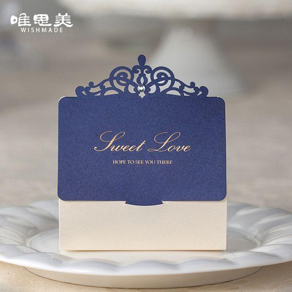 30pcs/lot Navy Blue Gem Diamond Hollow Wedding Candy Box Golden Foil Sweet Love Paper Boxes Bride Favor Gifts Bags CB502