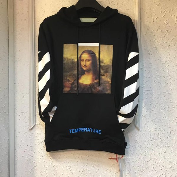 18ss American Autumn Fashion Popular trend Mona Lisa head portrait printing Stripe Hooded hoodie Men and women unisex coat