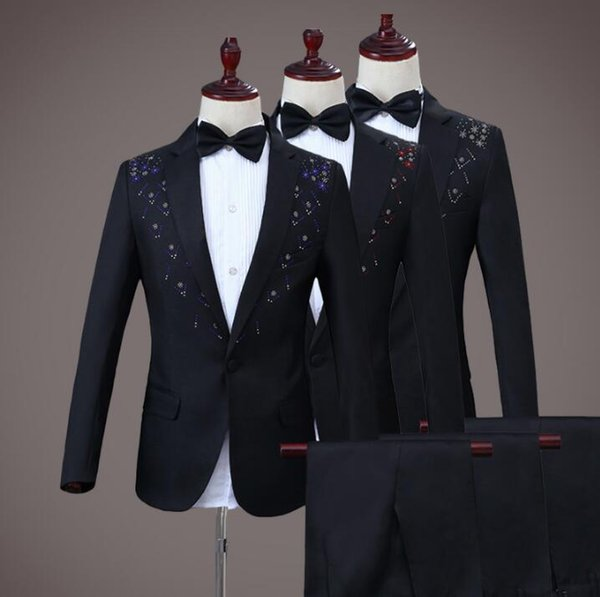 Singer star style dance stage black clothing for men groom suit set with pants 2018 mens wedding suits Diamond formal dress tie