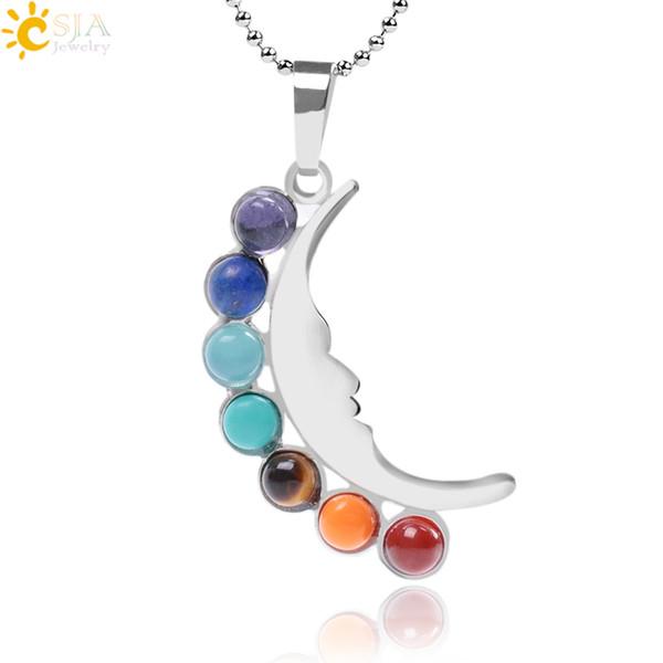 CSJA 7 Chakras Luna Half Moon Necklaces & Pendants Tibetan Buddhism Round Gem Stone Beads Yoga Meditation Reiki Healing Jewellery Gift F025