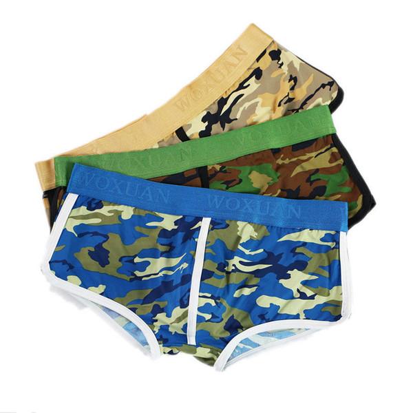 3 PEZZI Mens Camo Boxer Shorts Camouflage Underwear Bulge Pouch Trunks Elasticizzato Mutande Boxer Slip Bottom S-XL