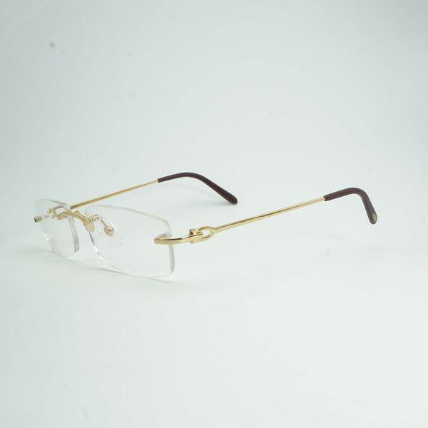 Lüks Çerçevesiz Temizle Gözlük Çerçeve Erkekler Marka Tasarımcısı Kare Gözlük erkek Oval Okuma Gözlükleri ulculos Gafas 011