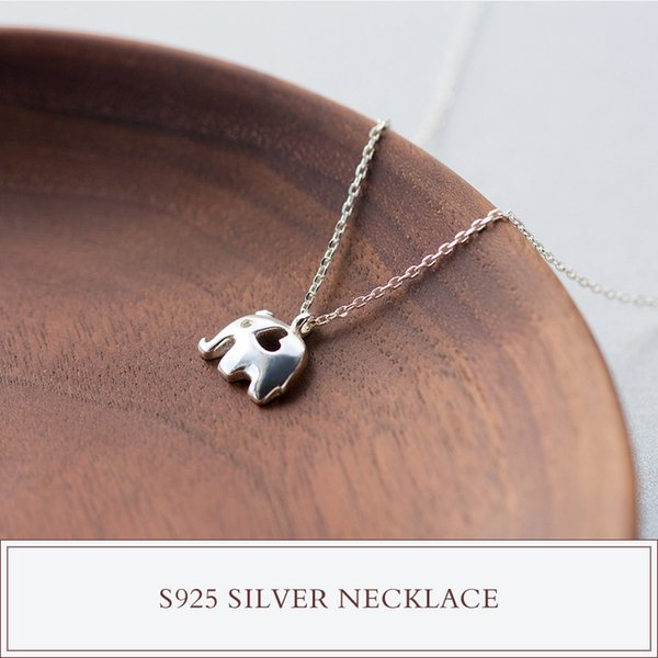 cute Real. 925 Sterling Silver Heart Elephant Pendant Necklace Animal Zoo Charm Jewelry Chain GTLX983