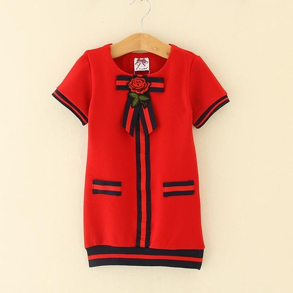 Kids Girl Dress 2-6T Baby Girls Striped Bow Dresses 2018 New Pink Navy Red Infant Princess Short Sleeve Dress For Party Children Clothing