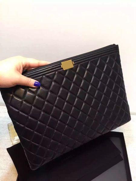 2018 high quality women lambskin boy clutch purse luxury original lambskin boy cosmetic bag ipad bag women evening bag