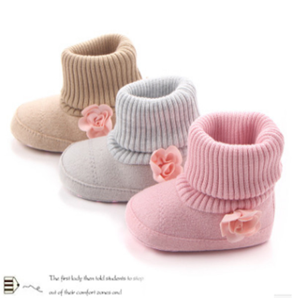 2018 Winter newborn baby boots fashion girls knitting shoes flower shoes infant bebe soft soled first walkers shoes.CX008