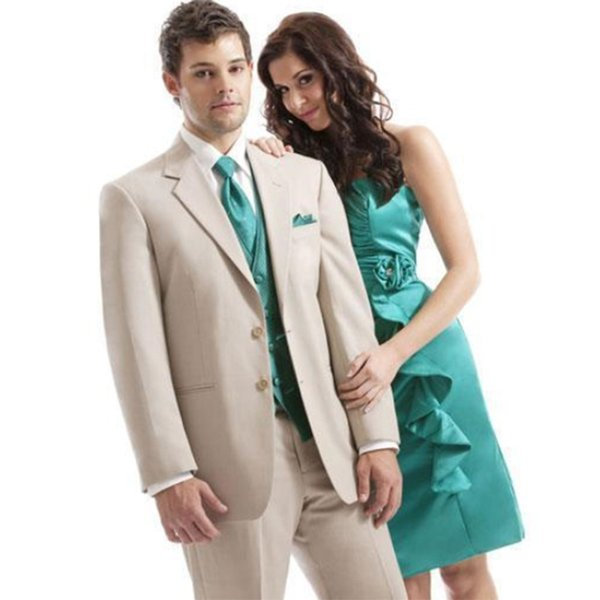 2018 Custom Made Men Suits Beige Wedding Suits For Man Slim Fit Formal Bridegroom Tuxedos Groomsmen Prom Best Man Handsome (Jacket+Pants)