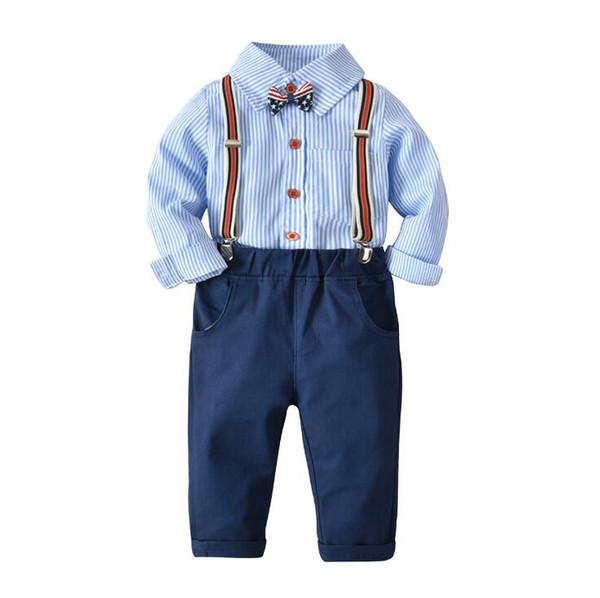 Bebê recém-nascido Meninos Outfits Set Primavera Outono Meninos Manga Comprida Listrada Camisa Tops + Macacão Calças Crianças Roupas Cavalheiro Meninos Roupas 2-4Y