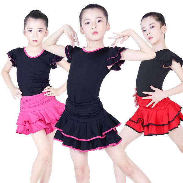 Children Latin Dance Dress V-neck Short Sleeve Suit Dance Practice Clothes Girls Latin Skirt