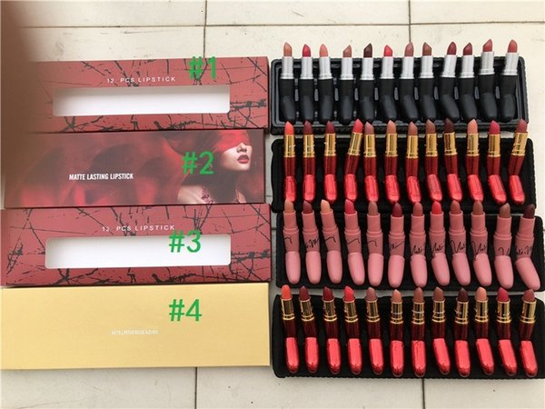 lipstick Set matte 12colors lipstick red gold edtion nude red lipstick 4 styles in stock