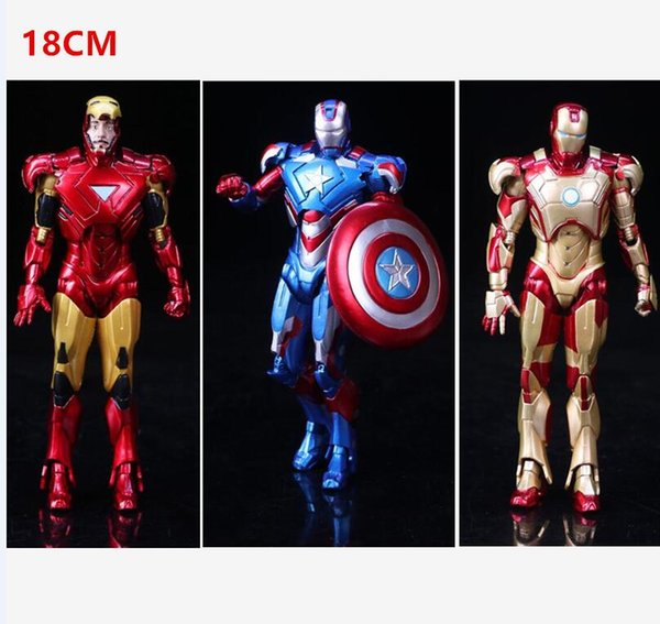 The Avengers PVC Action Figures Marvel Heros Iron Man Spiderman Captain America Ultron Wolverine Figure Toys 18CM DHL free shipping