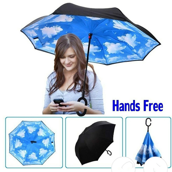 top popular Umbrella Wholesale 64 Patterns Sunny Rainy Umbrella Reverse Folding Inverted Umbrellas With C Handle Double Layer Inside Out Windproof 2021