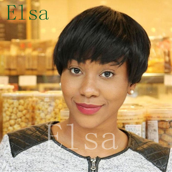 Natural hair style cuts Short Brazilian human hair bob cut wigs short lace front wigs glueless full lace wig with bangs for black women