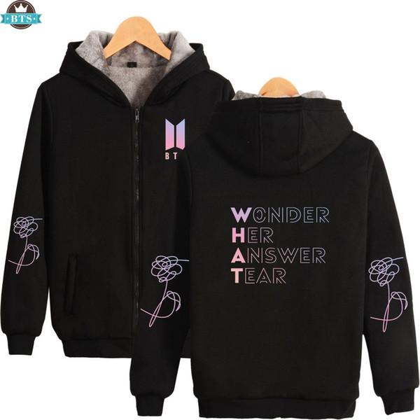 2018 New Album BTS Love Yourself Warm Parkas Women/Men K-pop Fashion Printed Coats BTS Casual Parkas for Winter Plus Size 4XL