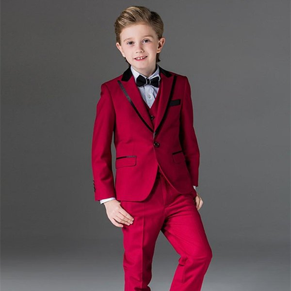Newest Three Pieces Red Boy Tuxedos Peak Lapel Cheap Children Suit Custom Made Kid Wedding Prom Suits (Jacket+Vest+Pants+Bow Tie)
