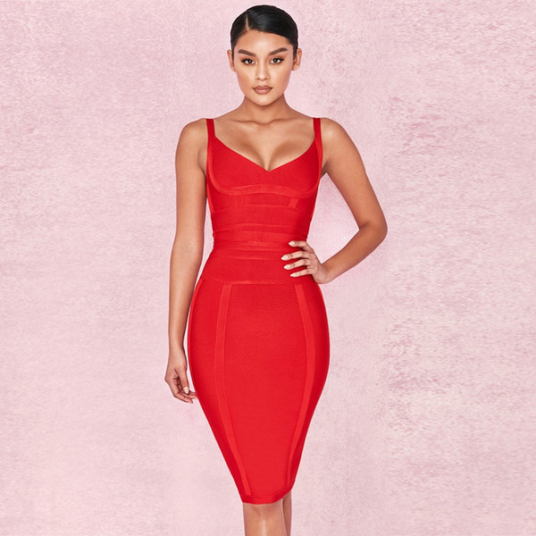Sexy Bandage Dress Women Clothes 2018 V-Neck Red Women Bodycon Dress Bandage Celebrity Party Club Prom Vestidos Clothing
