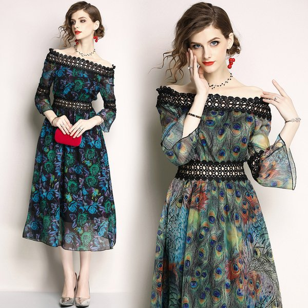 Suit-dress 2018 Europe Station Summer New Product Fashion Peacock Printing One Word Lead Chiffon Dress clothing ladies dresses woman
