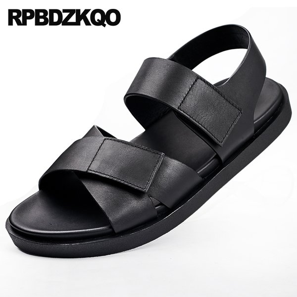 2018 Strap Shoes Beach Japanese Casual Designer Men Sandals Leather Summer Genuine High Quality Open Toe Flat Outdoor Black