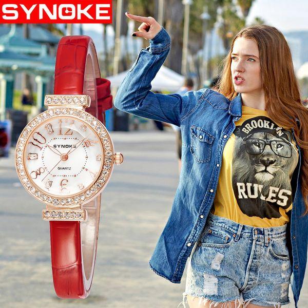 Мода часы женщины тонкий искусственная кожа Кварцевые наручные часы 30 м водонепроницаемый женские часы черный красный