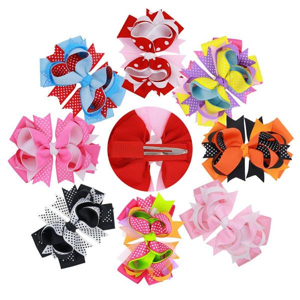 16Pcs 5 Inch Girls Dot Print Layered Ribbon Hair Bows Hairpin Baby Girls Handmade Boutique Hair Clip Beautiful HuiLin DW97