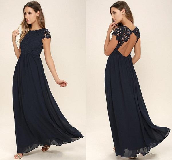 2018 Cheap Western Country Style Dark Navy Chiffon Bridesmaid Dresses Long Backless Short Sleeves Lace Top Beach Wedding Party Dresses