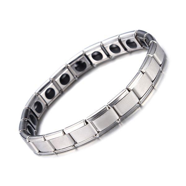 Neue Mode Frauen Männer Schmuck Silber Überzogene 316L Edelstahl Armband Armreif Heißer Herd Pflege Magnetische Armbänder Gliederkette geschenk