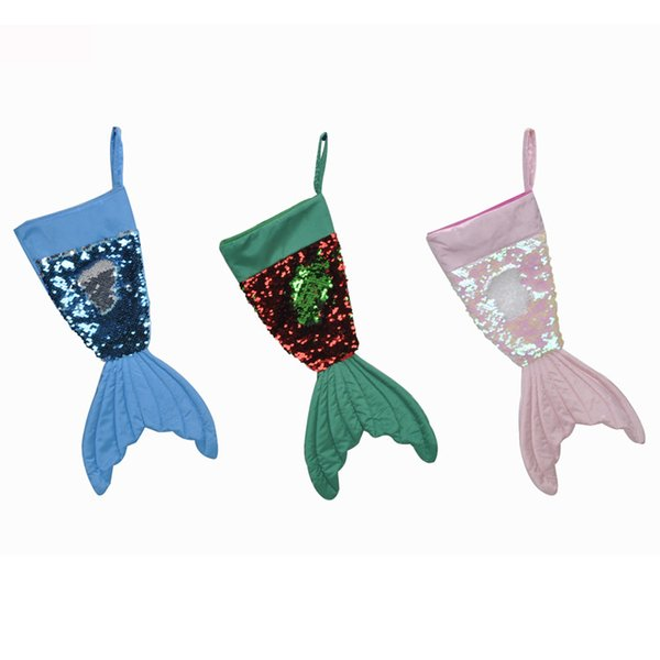 Christams Decorations Mermaid Christams Stocking Gift Wrap Bags Bling Bling Bead Flip Tail Socks Xmas Home Decor 3 Colors 16inch