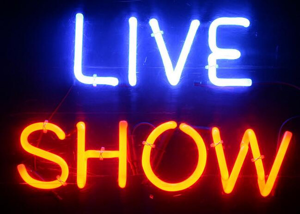 LIVE SHOW Neon Sign Real Glass Tube Bar Pub Store Business Advertising Home Decoration Art Gift Display Metal Frame Size 17''X14''