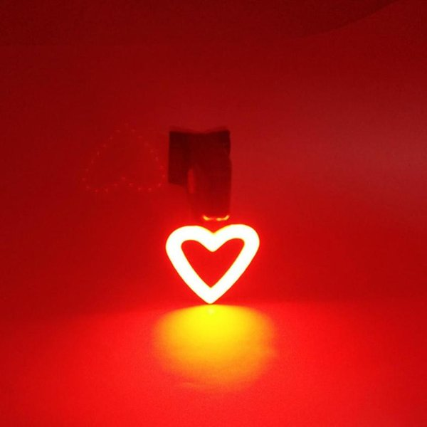 NEW Cycling LED Light USB Rechargeable Heart shaped Bike Bicycle Tail Light Warning Rear Safety bicycle accessories JLY08